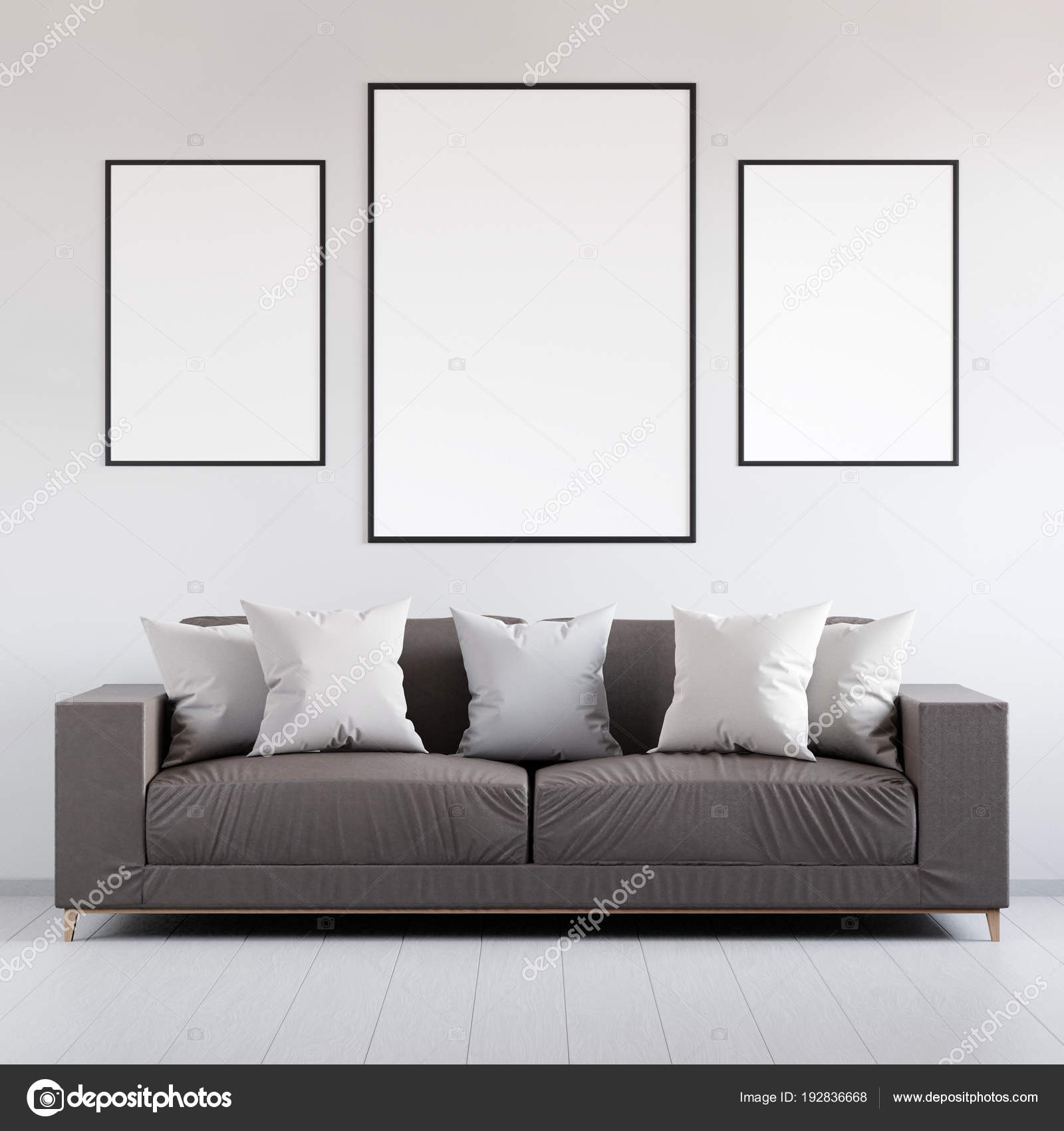 Magnificent Mockup Poster In The Interior With Leather Sofa 3D Render Andrewgaddart Wooden Chair Designs For Living Room Andrewgaddartcom