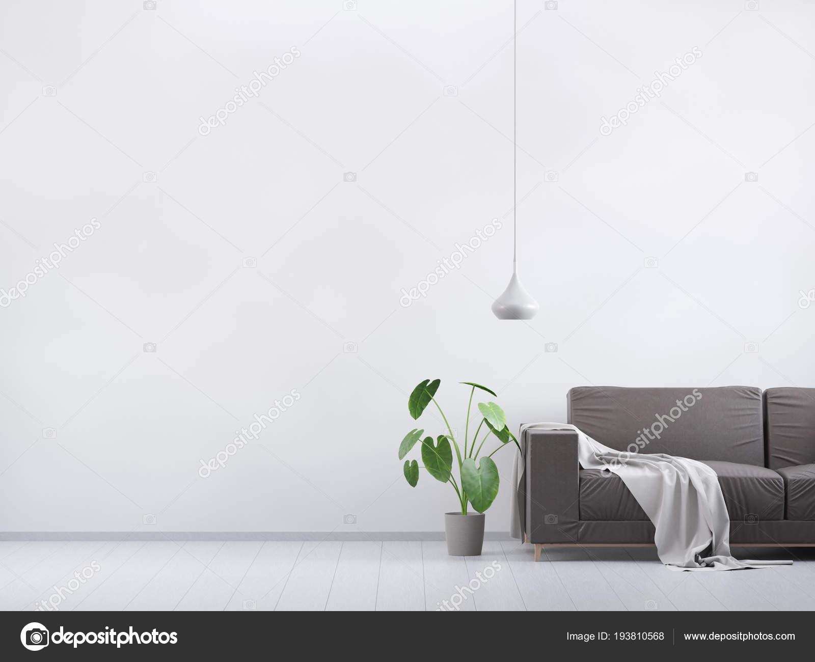 Salone moderno dellannata. divano in pelle marrone su un pavimento