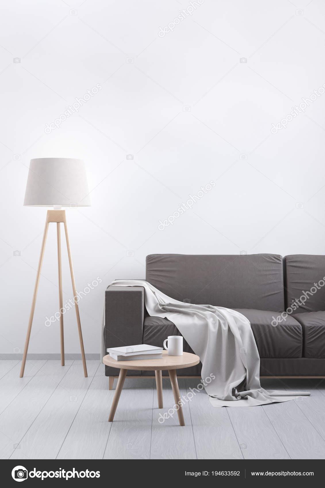 Modern vintage living room. Brown leather sofa on a grey ...