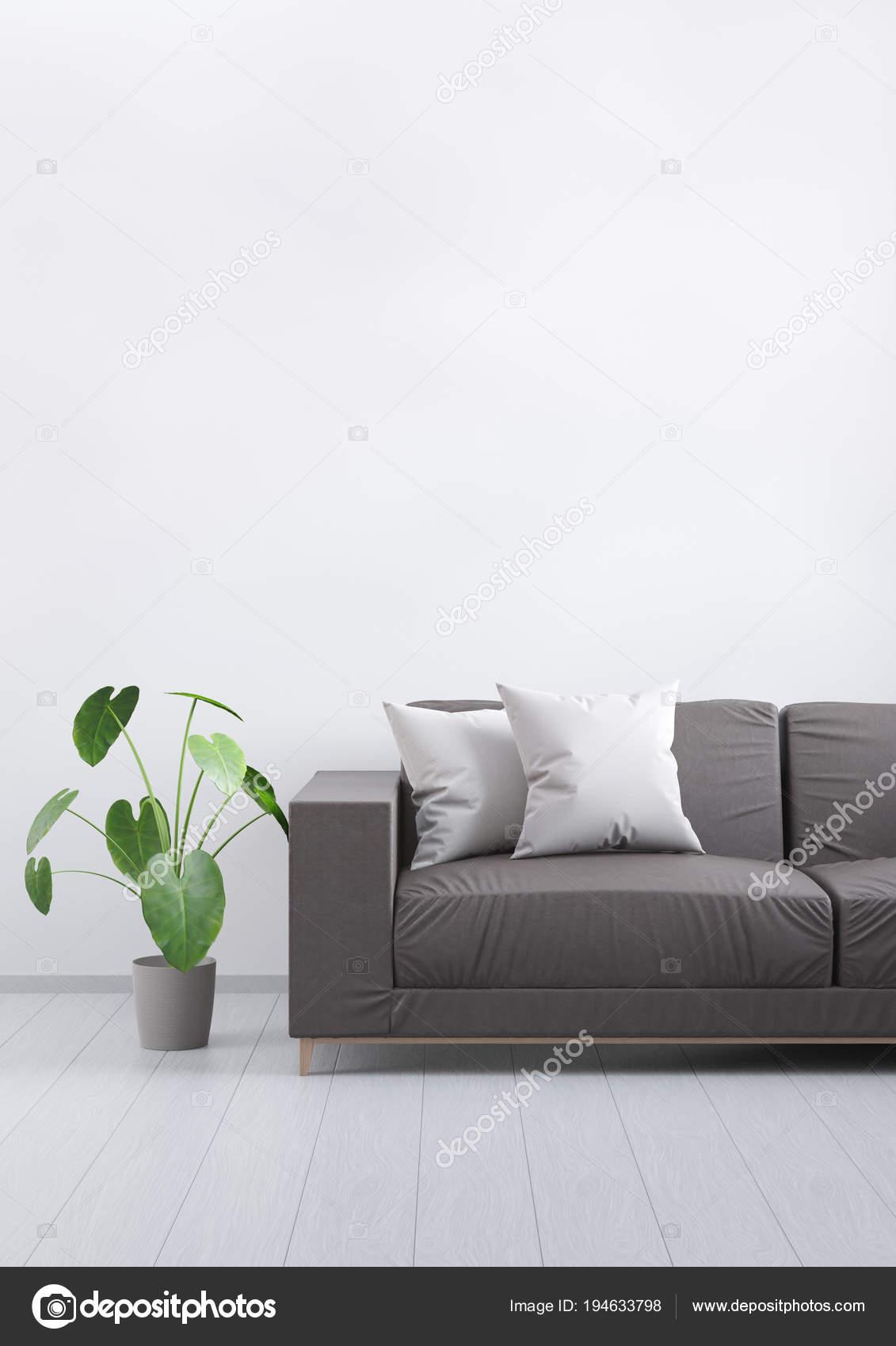Modern vintage woonkamer. Bruin lederen bank op een grijs houten ...