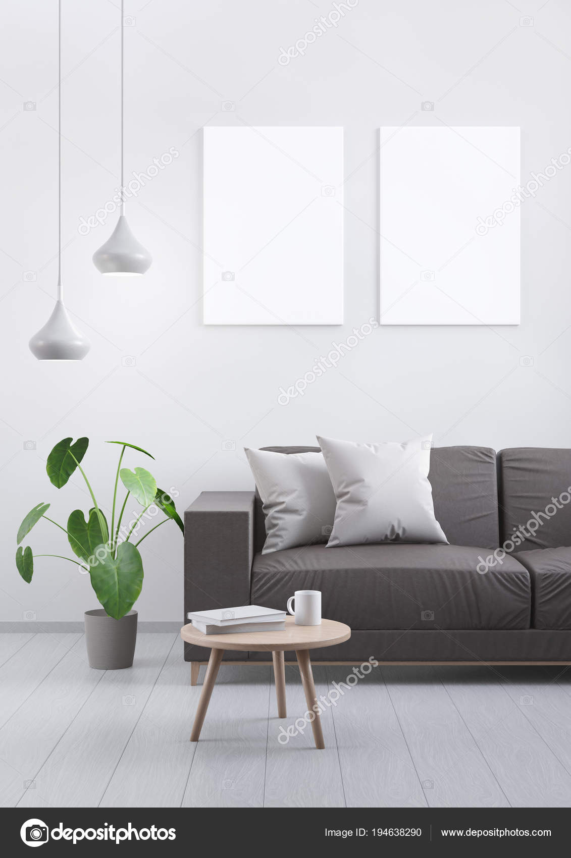 Modern vintage living room. Brown leather sofa on a grey wooden ...