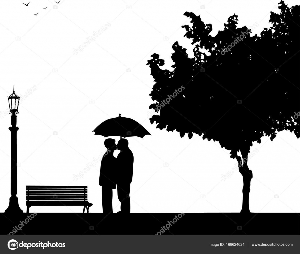 Lovely retired elderly couple standing and kissing under the ... for Couple Silhouette Umbrella Kissing  55dqh