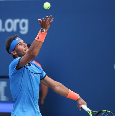 Grand Slam champion Rafael Nadal of Spain in action during US Open 2016 first round match at Billie Jean King National Tennis Center