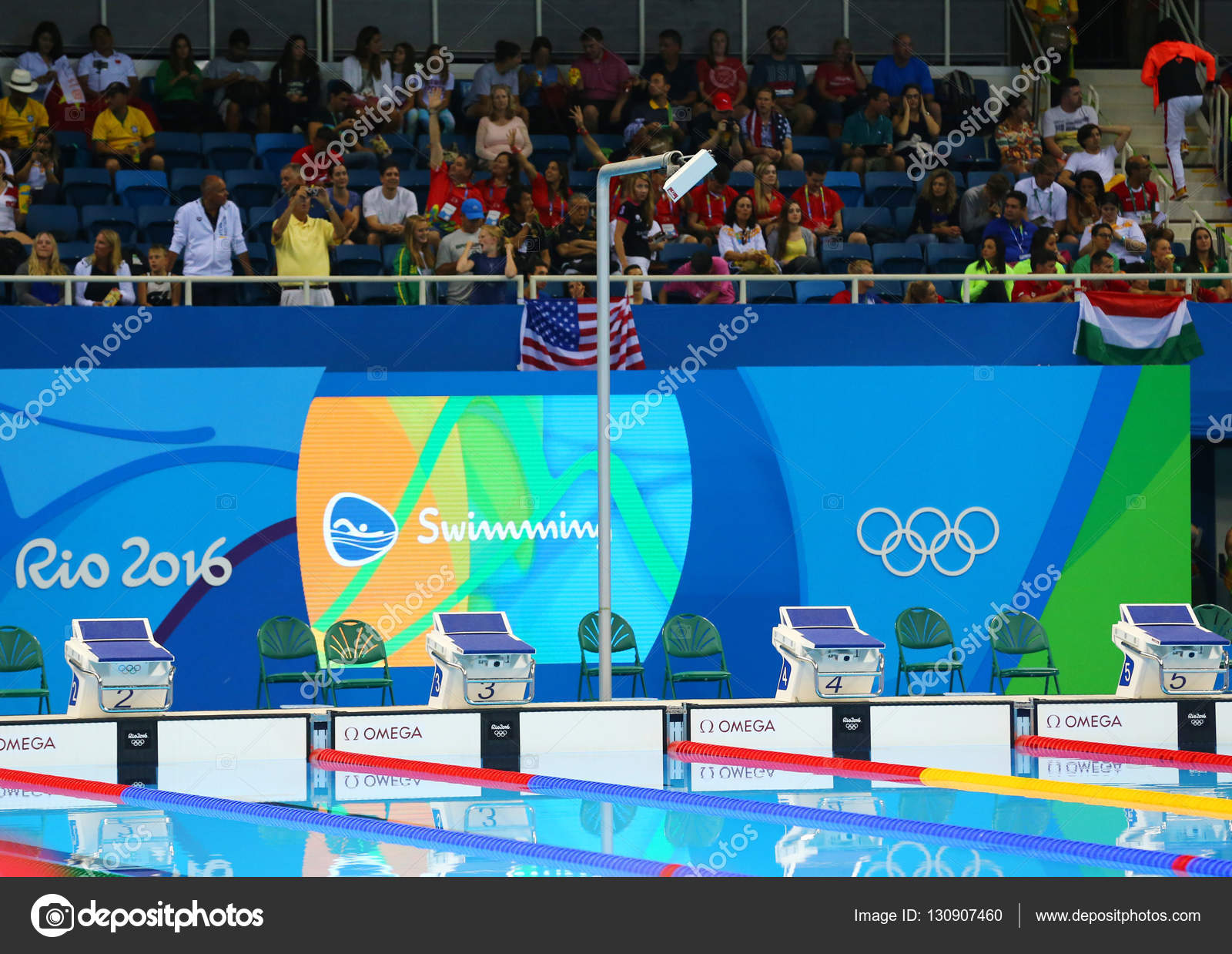 RIO DE JANEIRO, BRAZIL   AUGUST 8, 2016: Swimming Pool At Olympic Aquatic  Center During Rio 2016 Olympic Games U2014 Photo By Zhukovsky