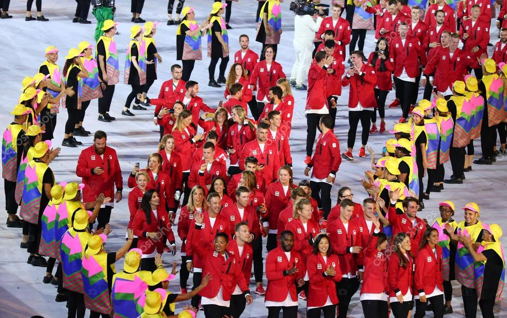 Olympic team Canada marching at Maracana Stadium during the Rio 2016 Opening Ceremony
