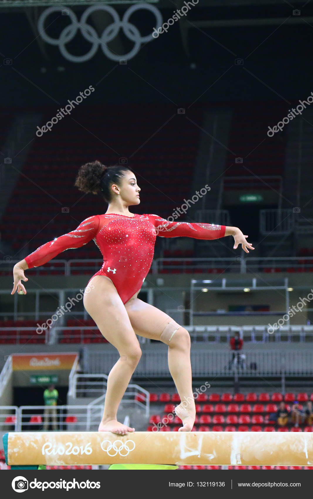 Olympic champion Laurie Hernandez of United States practices on the balance  beam before women s all- 85780f015