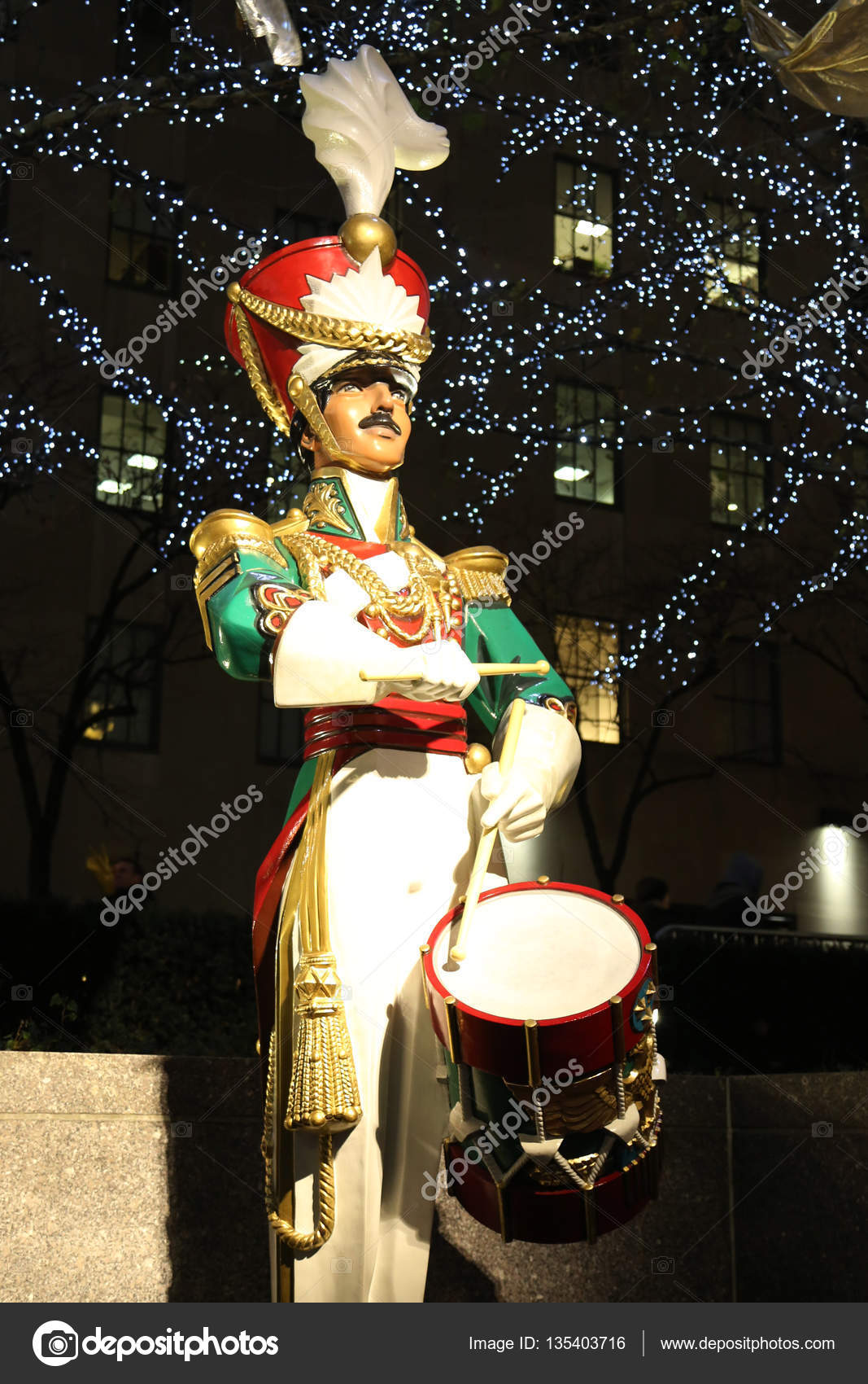 wooden soldier drummer christmas decoration at the rockefeller center in midtown manhattan stock photo - Christmas Decorations Wooden Soldiers