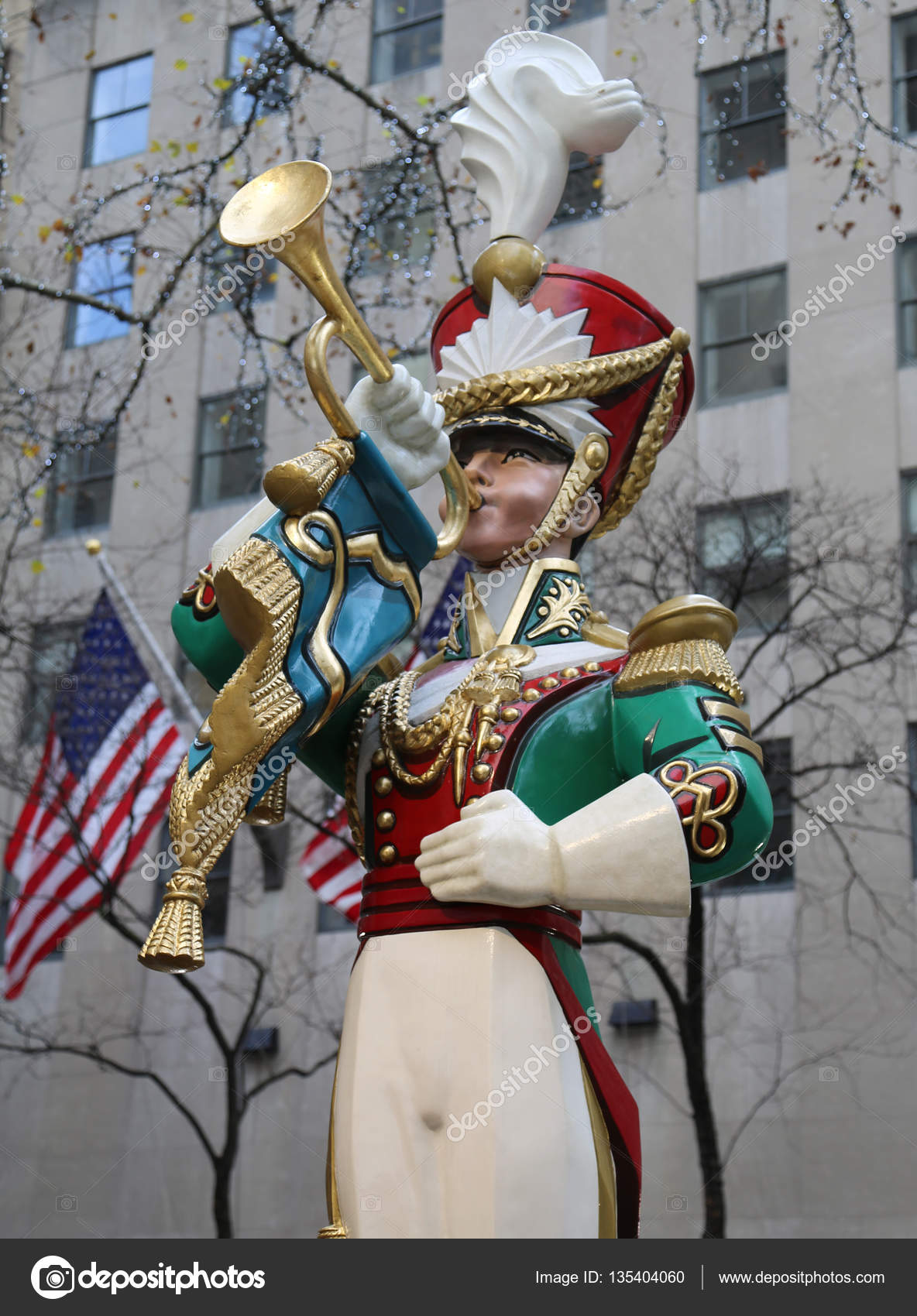 wooden toy soldier bugler christmas decoration at the rockefeller center in midtown manhattan stock photo