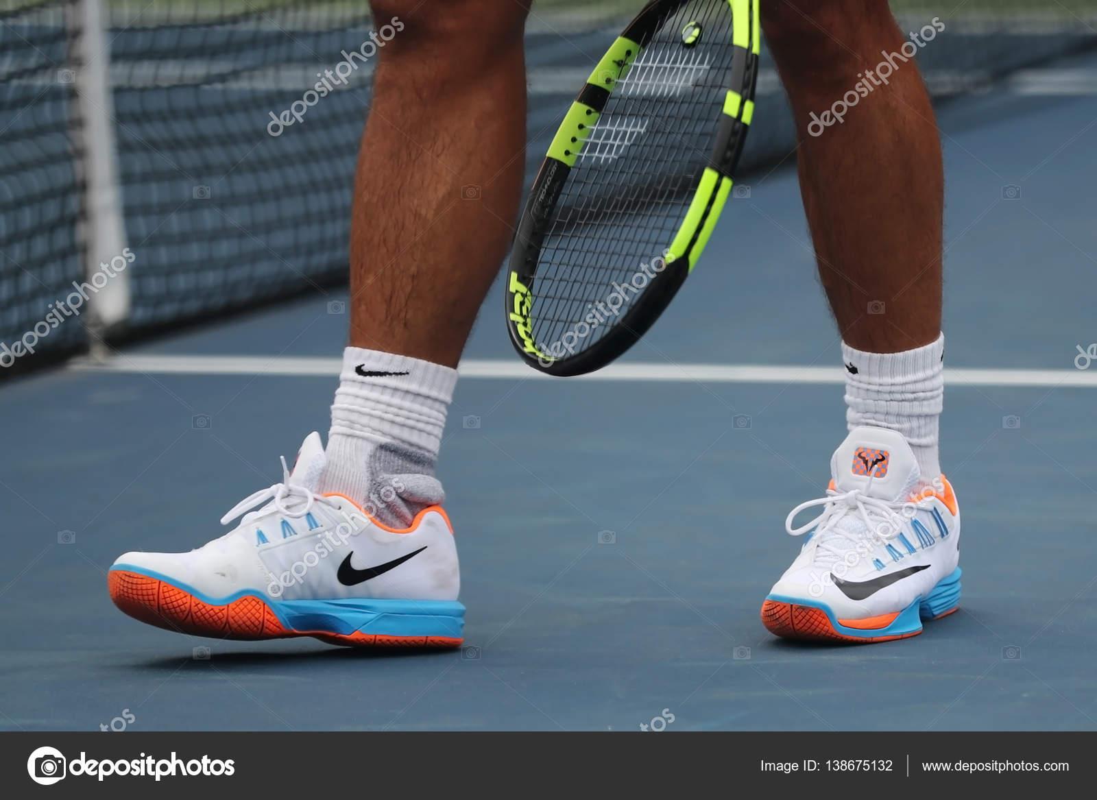 Grand Slam Champion Rafael Nadal Of Spain Wears Custom Nike Tennis Shoes During Practice For Us Open 2016 Stock Editorial Photo C Zhukovsky 138675132
