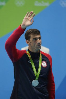 Michael Phelps of United States during medal ceremony after Men's 100m butterfly of the Rio 2016 Olympics at the Olympic Aquatics Stadium