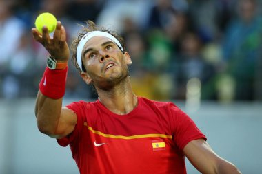 Olympic champion Rafael Nadal of Spain in action during men's singles semifinal of the Rio 2016 Olympic Games