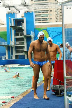Water Polo Team Greece  before Rio 2016 Olympics Men's Preliminary Round Group A match