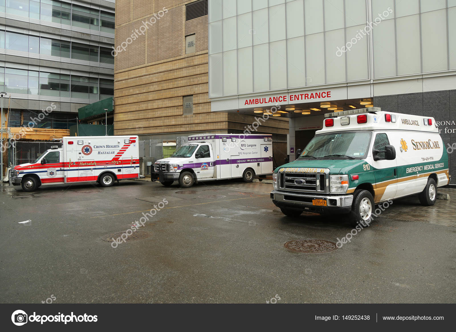 Ambulances parked at NYU Langone Medical Center in Manhattan