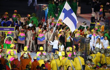 Olympic team Finland marched into the Rio 2016 Olympics opening ceremony at Maracana Stadium in Rio de Janeiro