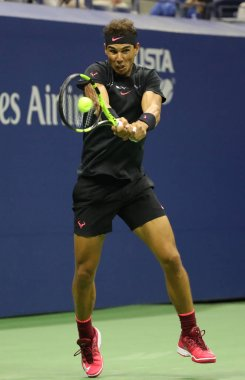 Grand Slam champion Rafael Nadal of Spain in action during his US Open 2017 semifinal match