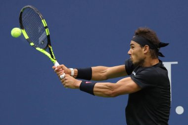 Grand Slam champion Rafael Nadal of Spain in action during his US Open 2017 final match