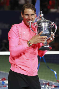 US Open 2017 champion Rafael Nadal of Spain posing with US Open trophy during trophy presentation after his final match victory against Kevin Andersen