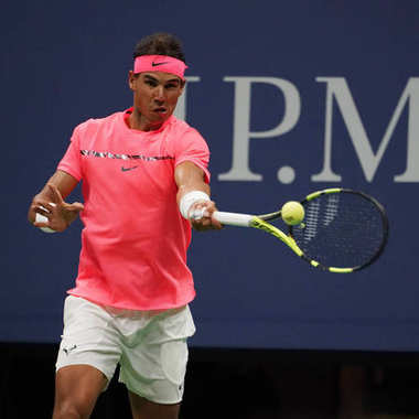 Grand Slam champion Rafael Nadal of Spain in action during his US Open 2017 first round match