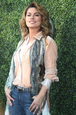 Canadian country singer and songwriter Shania Twain on the blue carpet before US Open 2017 opening night ceremony