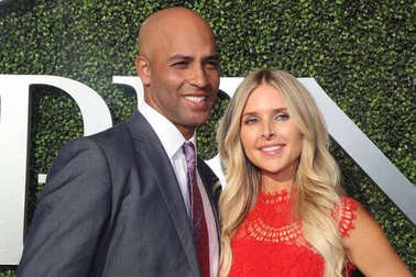 American retired professional tennis player James Blake and Emily Snider on the blue carpet before US Open 2017 opening night ceremony