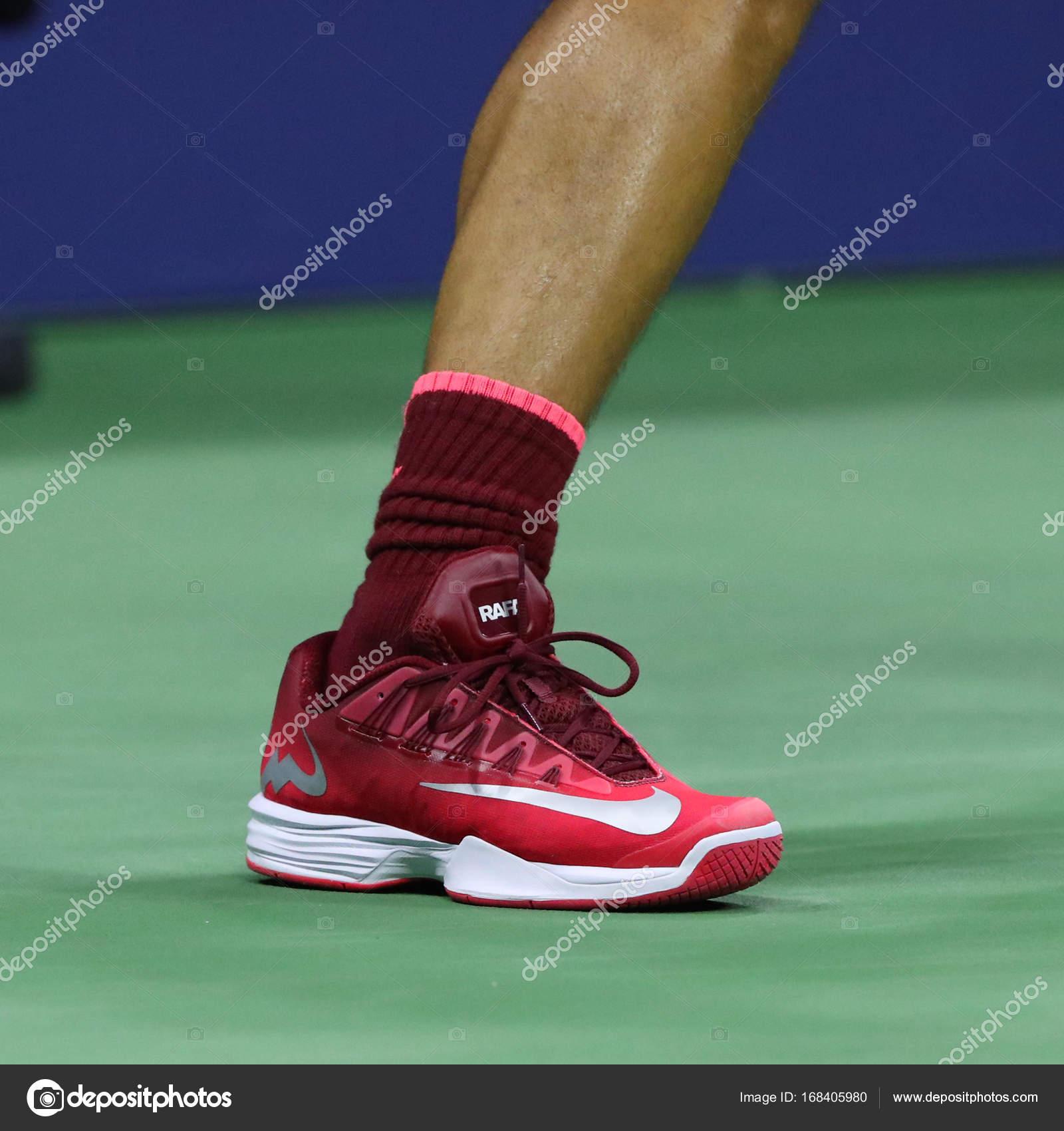 Grand Slam Champion Rafael Nadal Of Spain Wears Custom Nike Tennis Shoes During Us Open 2017 Match Stock Editorial Photo C Zhukovsky 168405980