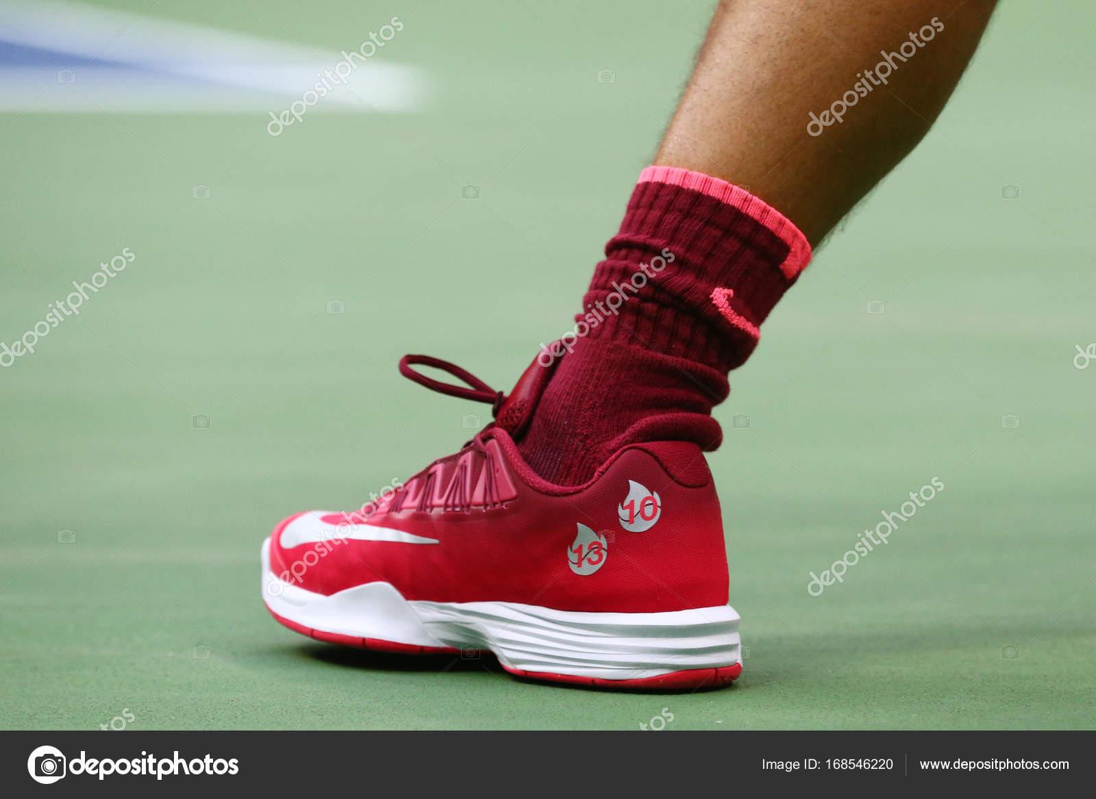 Grand Slam Champion Rafael Nadal Of Spain Wears Custom Nike Tennis Shoes During Us Open 2017 Final Match Stock Editorial Photo C Zhukovsky 168546220