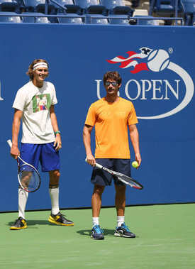 Professional tennis player Alexander Zverev of Germany and his coach Juan Carlos Ferrero during practice for US Open 2017