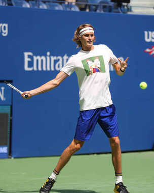 Professional tennis player Alexander Zverev of Germany in practice for 2017 US Open
