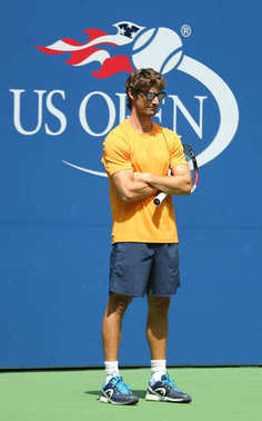 Tennis coach Juan Carlos Ferrero coaches professional tennis player Alexander Zverev of Germany for US Open 2017