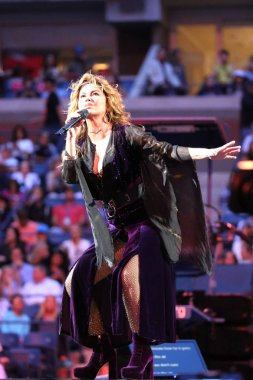 Canadian country singer and songwriter Shania Twain performs at 2017 US Open opening night ceremony