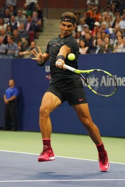Grand Slam champion Rafael Nadal of Spain in action during his US Open 2017 second round match