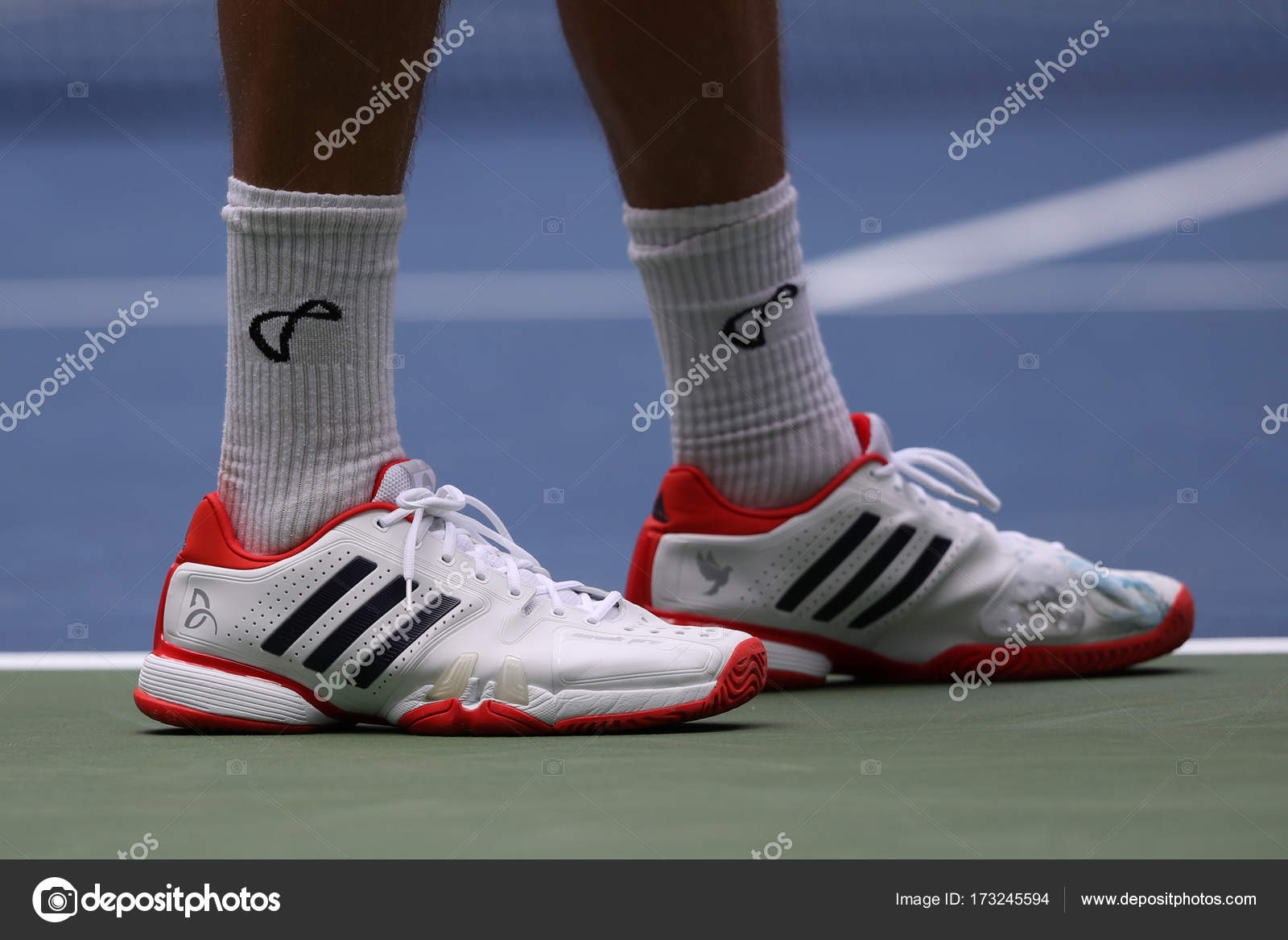 Professional Tennis Player Tennys Sandgren Of Usa Wears Adidas Special Edition Babolat 7 Novak Djokovic Tennis Shoes During His 2017 Us Open First Round Match Stock Editorial Photo C Zhukovsky 173245594