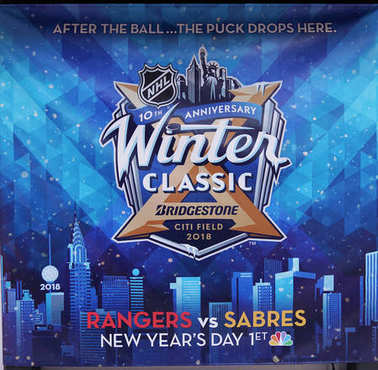 NEW YORK - DECEMBER 19, 2017: The NHL shop windows decoration for The NHL Winter Classic event in Manhattan