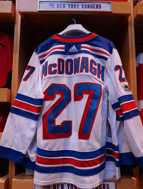 NEW YORK - December 19, 2017: Ryan McDonagh New York Rangers jersey on display at NHL store in Midtown Manhattan.