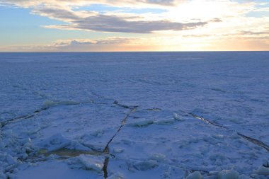 Ice field with crushed ice in Baltic Sea