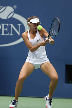 NEW YORK - AUGUST 29, 2017: Professional tennis player Magda Linette of Poland in action during her US Open 2017 first round match at Billie Jean King National Tennis Center