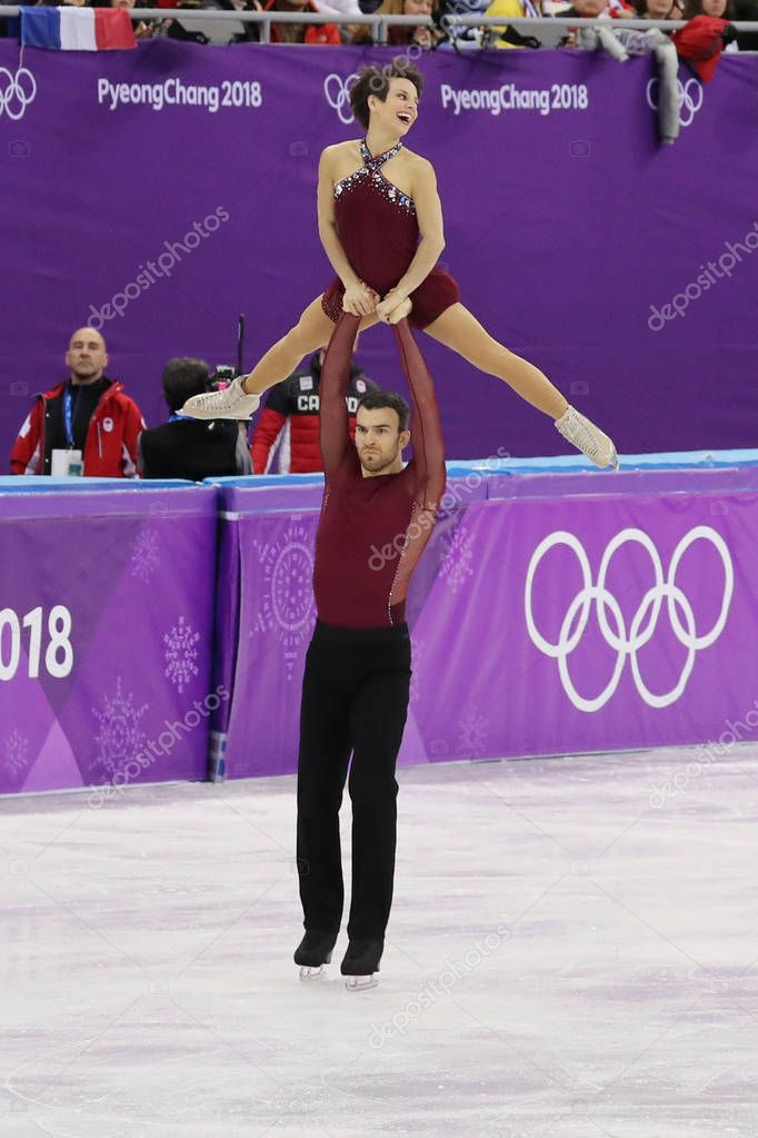 GANGNEUNG, SOUTH KOREA - FEBRUARY 15, 2018: Bronze medalists  Meagan Duhamel and Eric Radford of Canada perform in the Pair Skating Free Skating at the 2018 Winter Olympics at Gangneung Ice Arena
