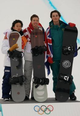 PYEONGCHANG, SOUTH KOREA  FEBRUARY 14, 2018: Ayumu Hirano JPN (L),  Shaun White USA and Scotty James AUS during venue ceremony after men's snowboard halfpipe final at the 2018 Winter Olympics
