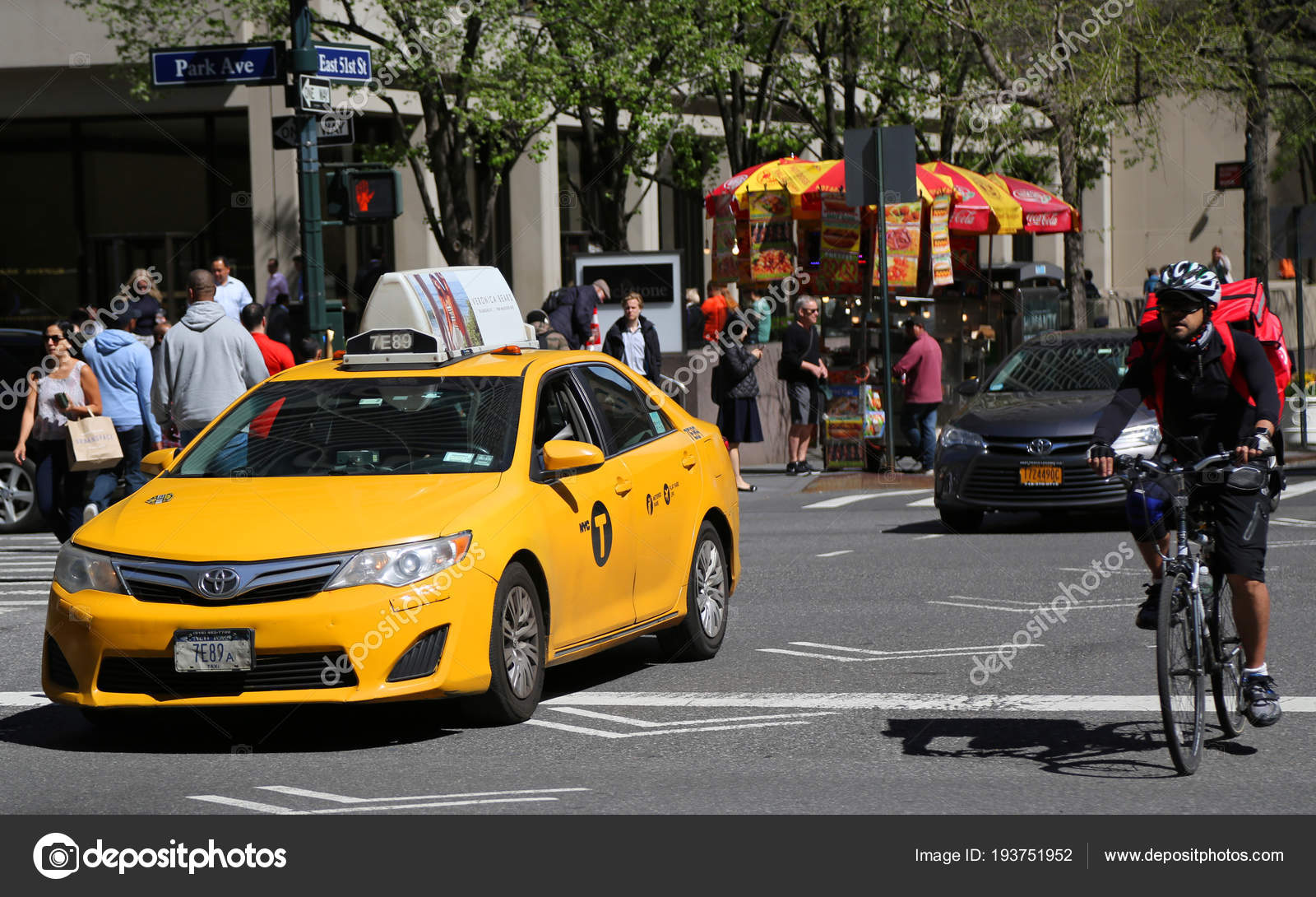 new york city april 2018 new york taxi bike rider stock. Black Bedroom Furniture Sets. Home Design Ideas