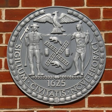 NEW YORK CITY - MAY 3, 2018: The seal of New York City. It was adopted in an earlier form in 1686.The two supporters represent the unity between Native Americans and colonists