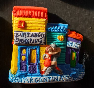 EL CALAFATE, ARGENTINA - FEBRUARY 8, 2020: Local souvenirs on display in El Calafate, Argentinian Patagonia