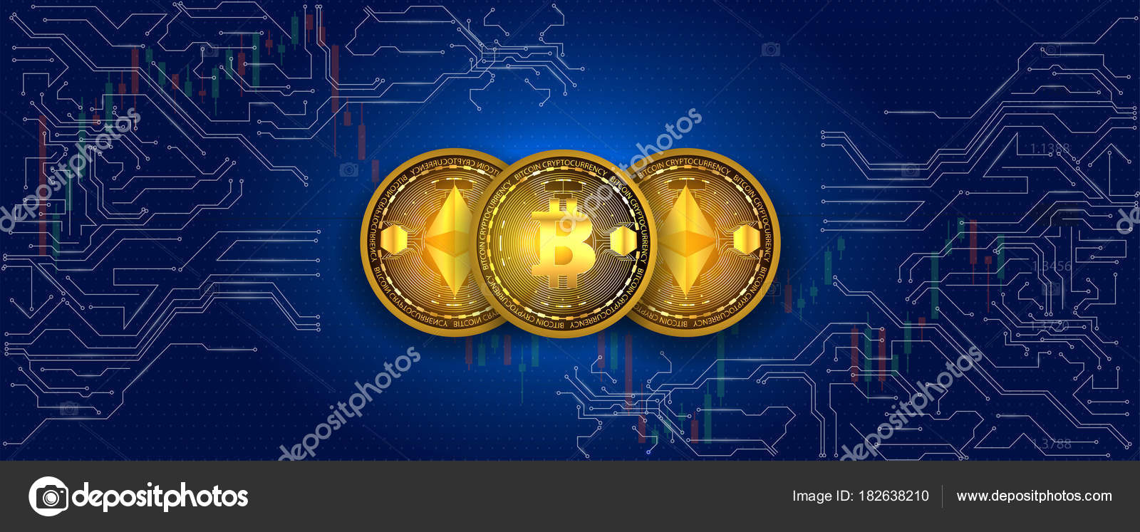 Virtual Symbols Coin Bitcoin Ethereum Electronic Circuit Background Stock Vector Crypto Currency