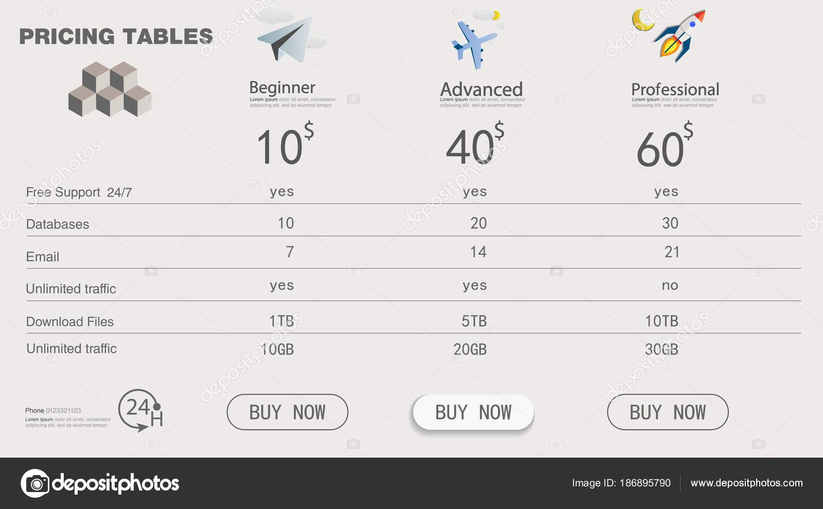 price list set tariff plan pricing table business clean modern