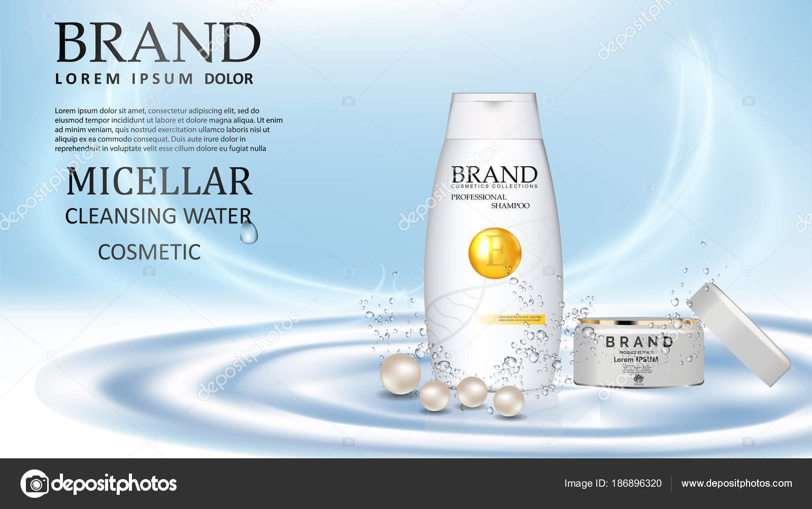 Plastic bottle with hair shampoo  Product with label design Vector