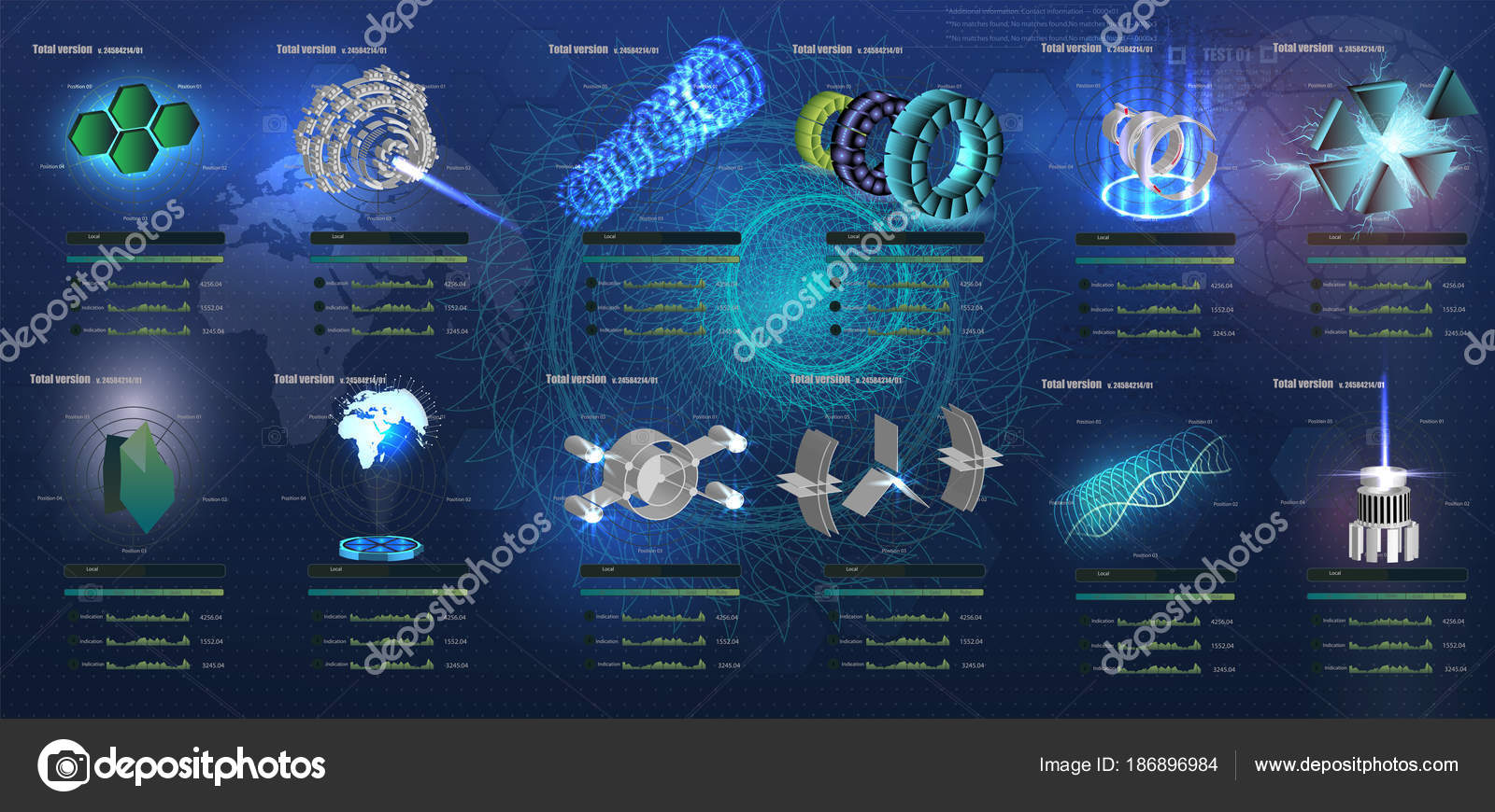 f350a779b4a7 A big set 3D of element in hud style. Elements pack of the User Futuristic  Interface. Template UI for app and virtual reality.– stock illustration