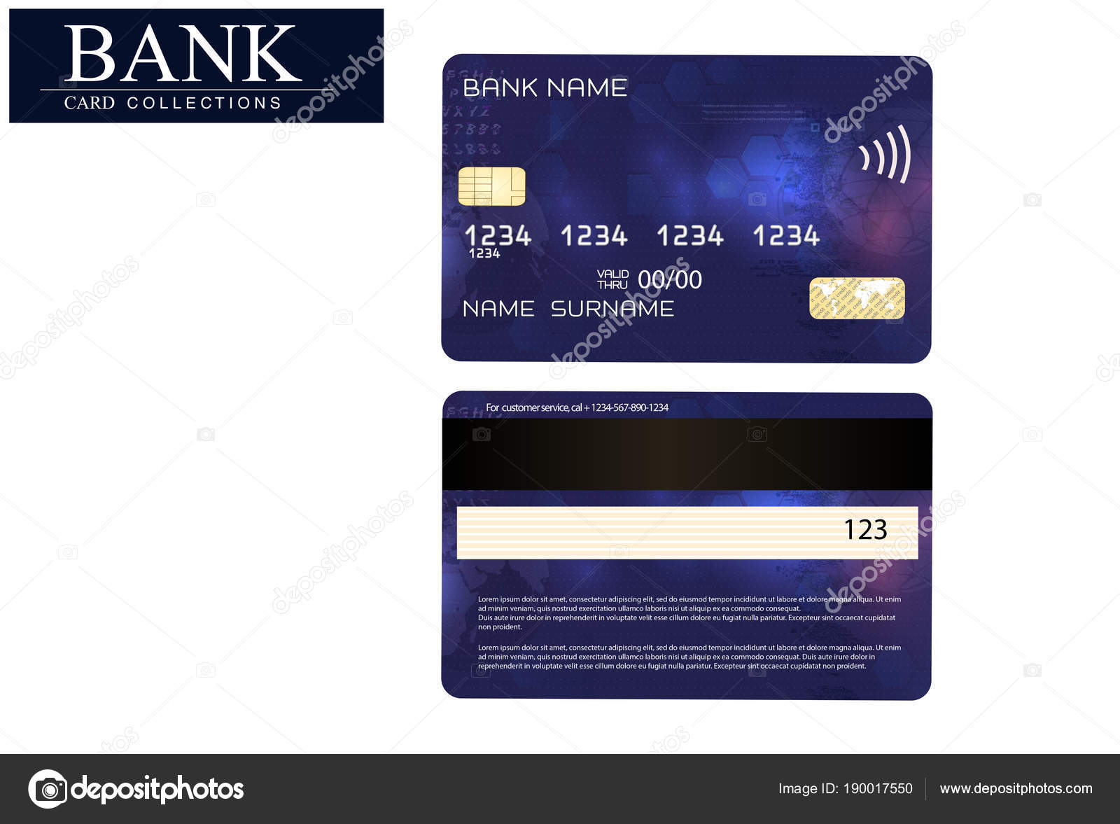 credit card blue isolated on white background vector eps 10