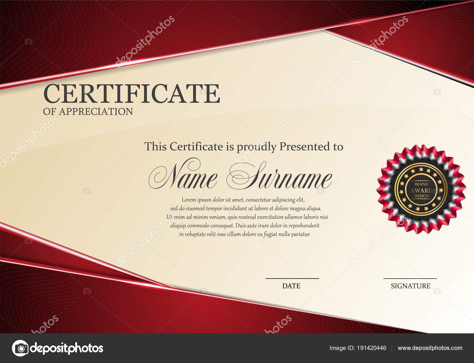 Zertifikat-Vorlage mit Luxus rot elegante Muster, Diplom Design ...