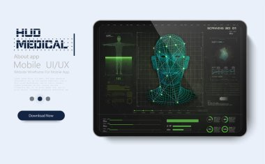 Modern medical examination in HUD style design. Ultrasound and cardiogram. Futuristic Medical Interface, virtual graphic touch UI UX. Medical screening with medical application on tablet. HUD