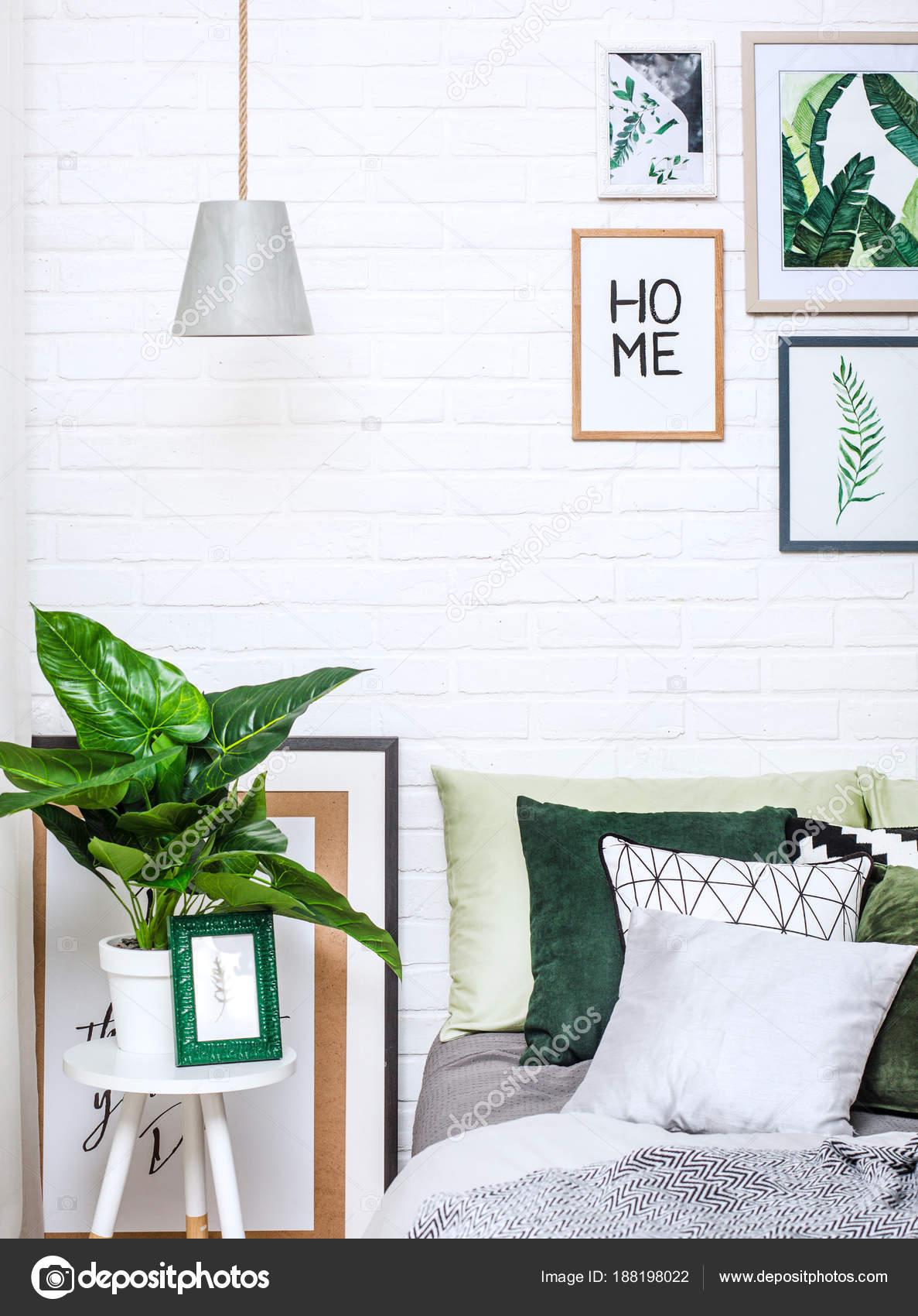 Schlafzimmer Innenraum Haus Bett Stil Blumenmuster — Stockfoto ...