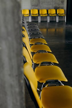 colored office chairs group arranged row guests